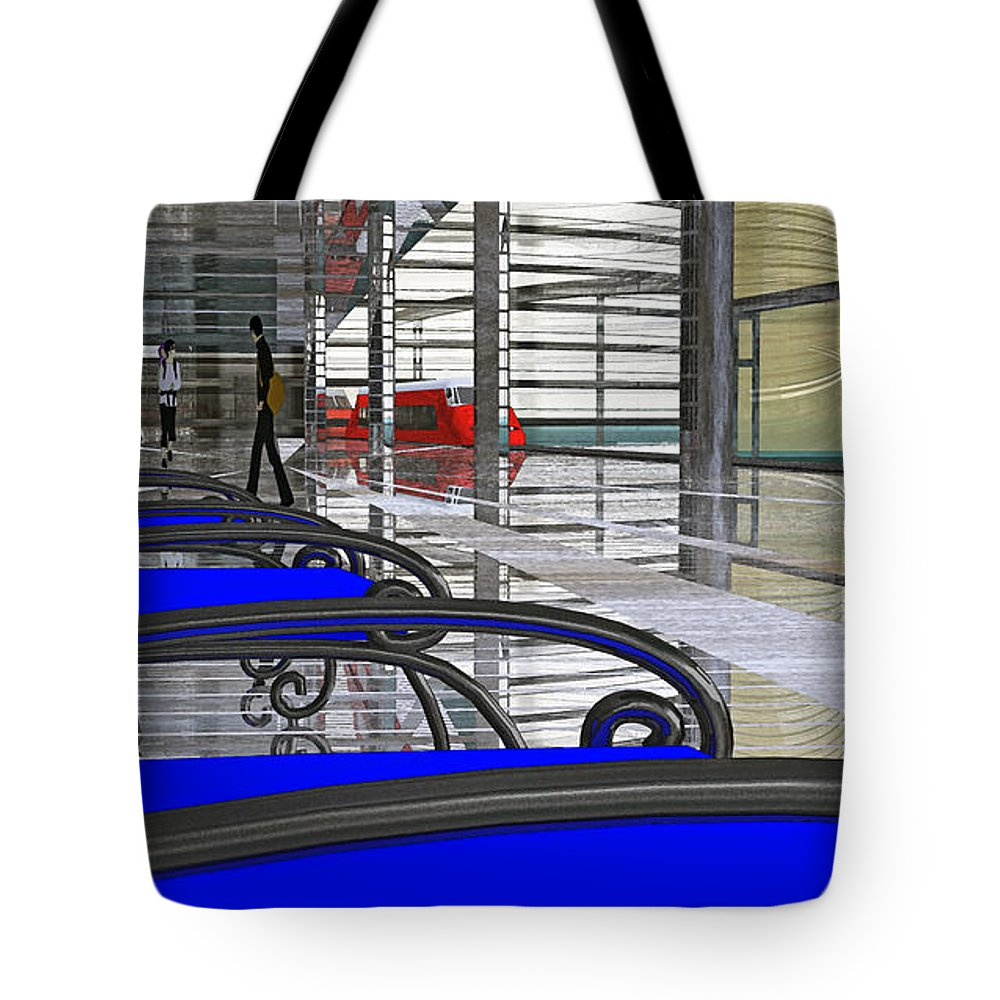 Digital Impressionism Tote Bag featuring the digital art Metro West Station by Richard Rizzo