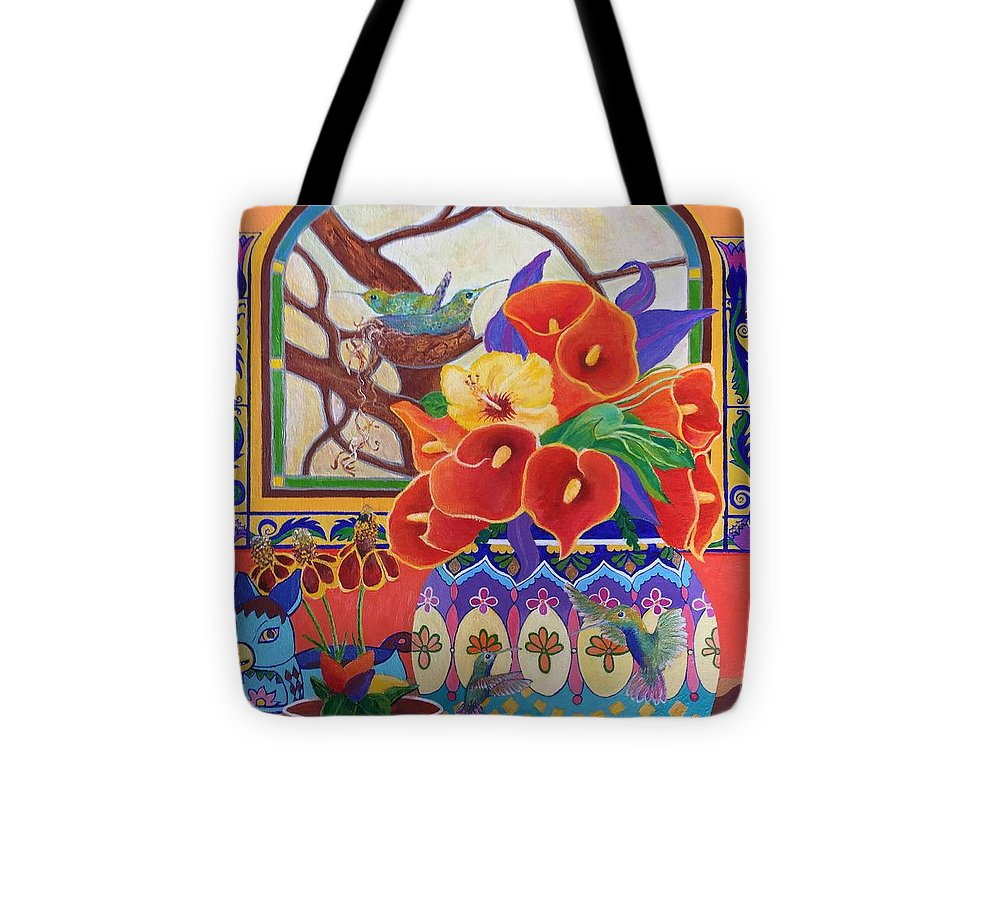 Still Life Abstract Tote Bag featuring the painting Mexican Lilies by John Martinez