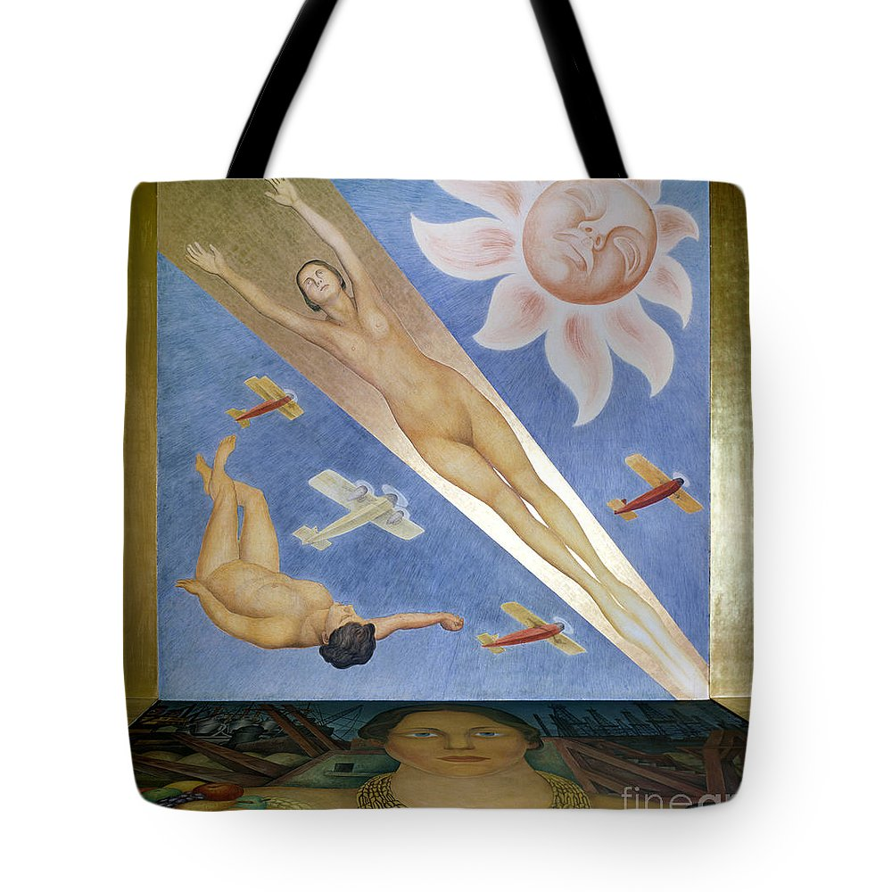 20th Century Tote Bag featuring the photograph Mexican Mural Painting by Granger