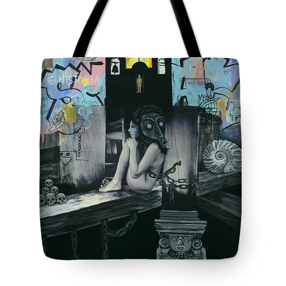 Surreal Tote Bag featuring the painting Mexican Water Goddess by Yelena Tylkina