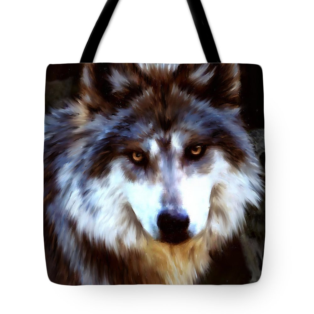 Wolf Tote Bag featuring the digital art Mexican Wolves by Barbara Hymer