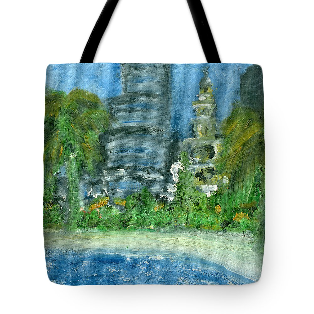 Miami Tote Bag featuring the painting Mi Miami by Jorge Delara