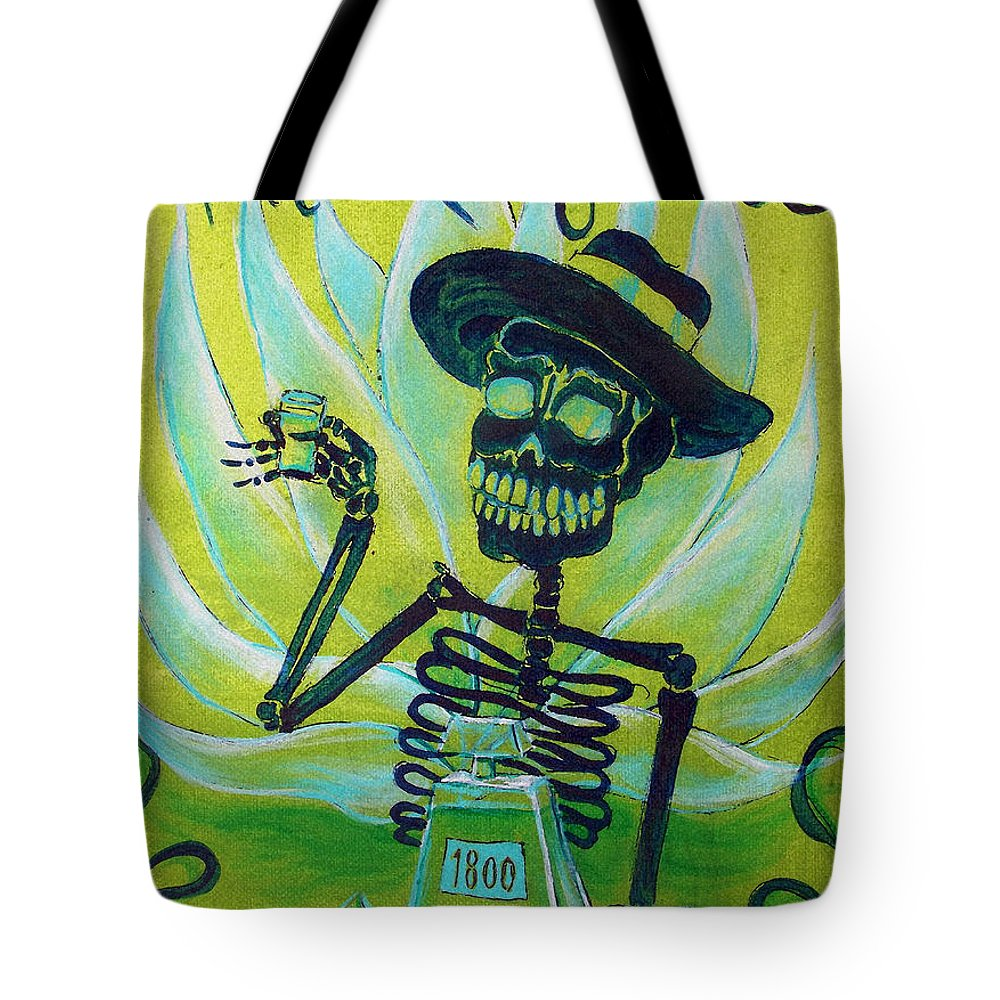 Day Of The Dead Tote Bag featuring the painting Mi Tequila by Heather Calderon