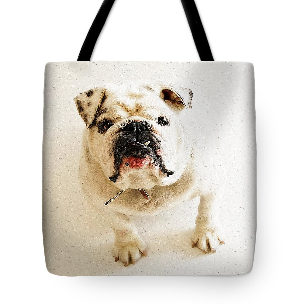 Dog Art Tote Bag featuring the painting Mia by Queso Espinosa