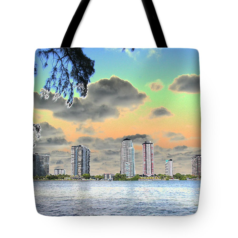 Miami Tote Bag featuring the photograph Miami Skyline Abstract by Christiane Schulze Art And Photography
