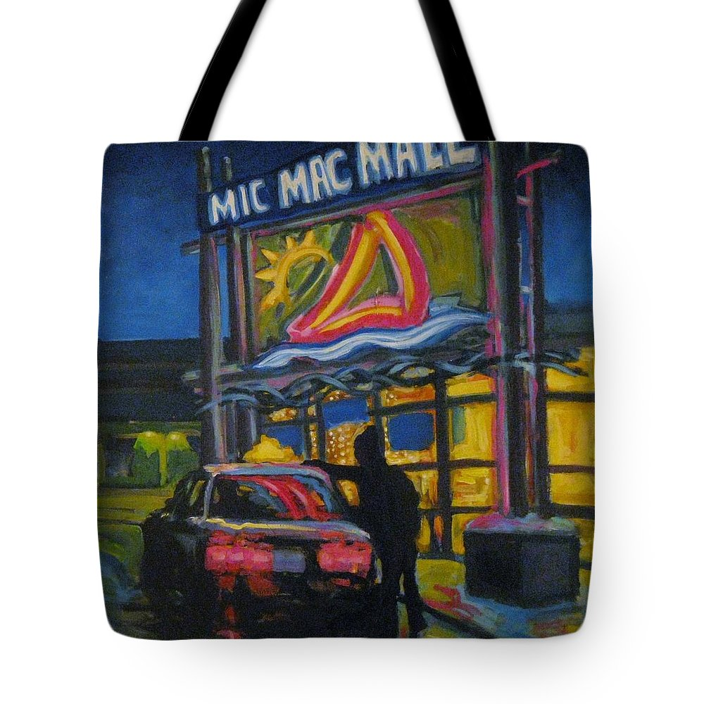 Retail Tote Bag featuring the painting Mic Mac Mall Spectre Of The Next Great Depression by John Malone