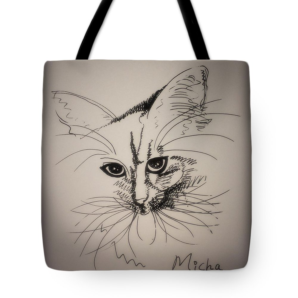 Cat Tote Bag featuring the drawing Micha by Pookie Pet Portraits