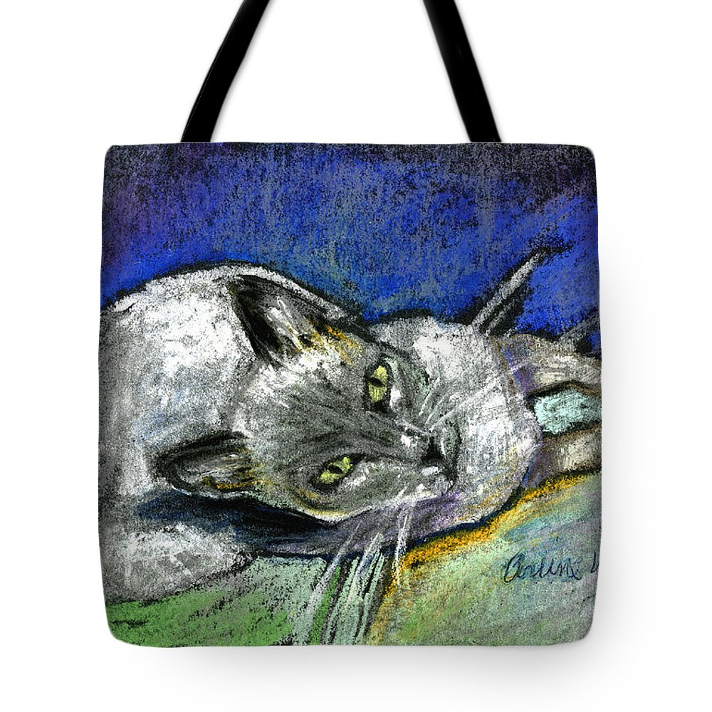 Cat Tote Bag featuring the pastel Michael Campbell by Arline Wagner
