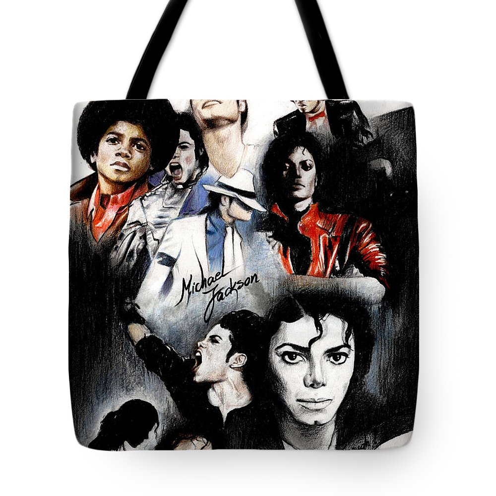 Lin Petershagen Tote Bag featuring the drawing Michael Jackson - King Of Pop by Lin Petershagen
