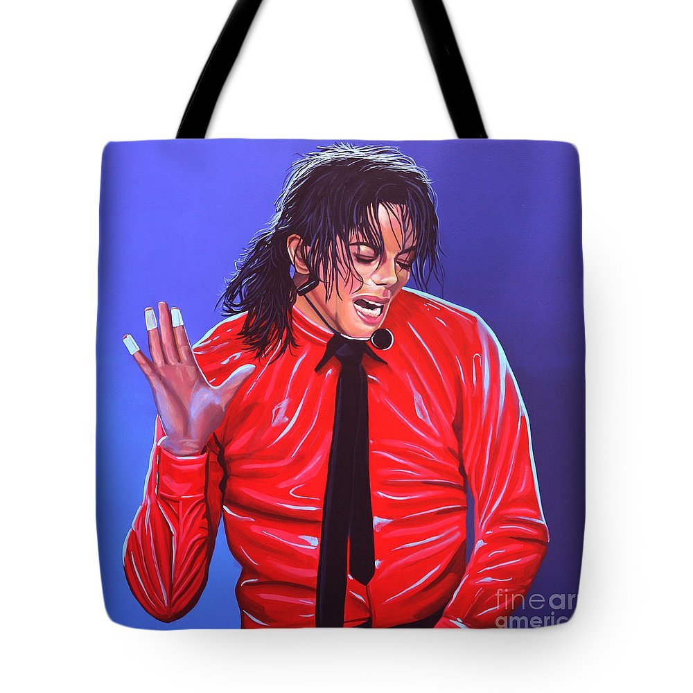 Michael Jackson Tote Bag featuring the painting Michael Jackson 2 by Paul Meijering