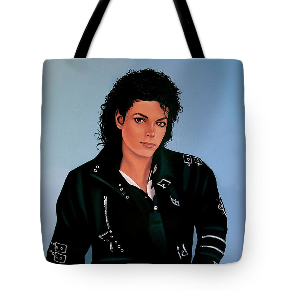 Michael Jackson Tote Bag featuring the painting Michael Jackson Bad by Paul Meijering