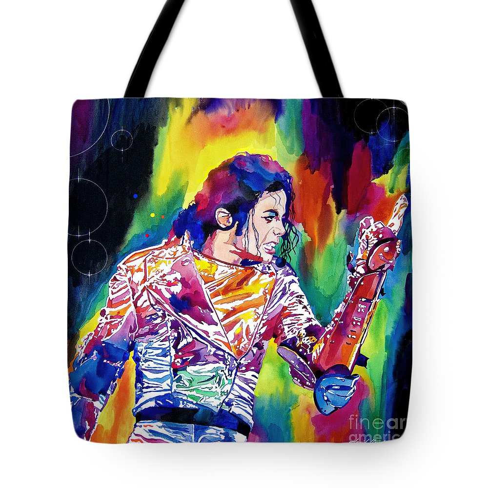 Michael Jackson Tote Bag featuring the painting Michael Jackson Showstopper by David Lloyd Glover
