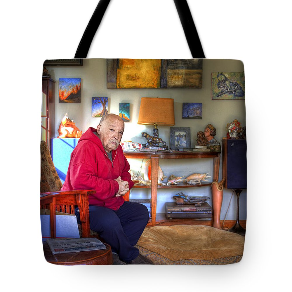 Portrait Tote Bag featuring the photograph Michael by Lee Santa