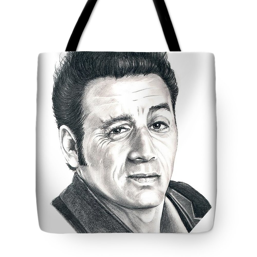 Pencil Tote Bag featuring the drawing Michael Richards Cosmo Kramer by Murphy Elliott