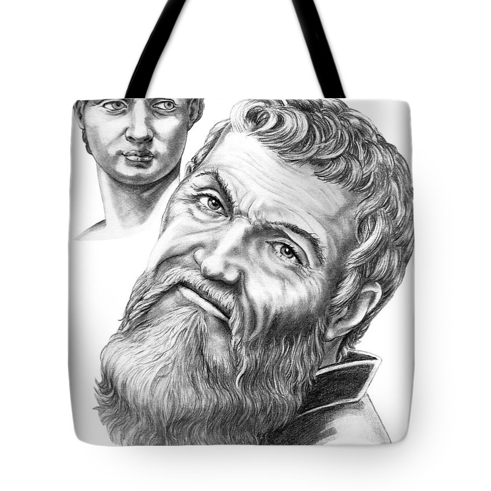 Michelangelo Tote Bag featuring the drawing Michelangelo And David by Murphy Elliott
