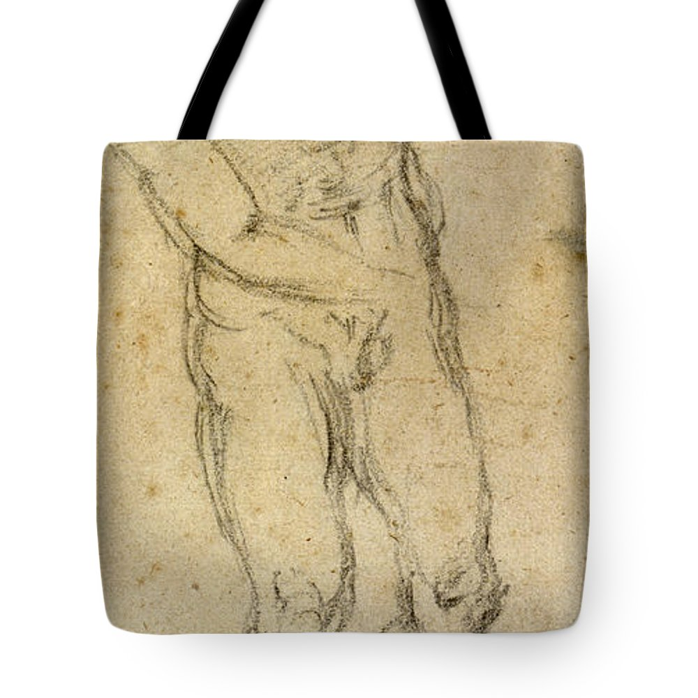1560 Tote Bag featuring the painting Michelangelo: Male Nude by Granger