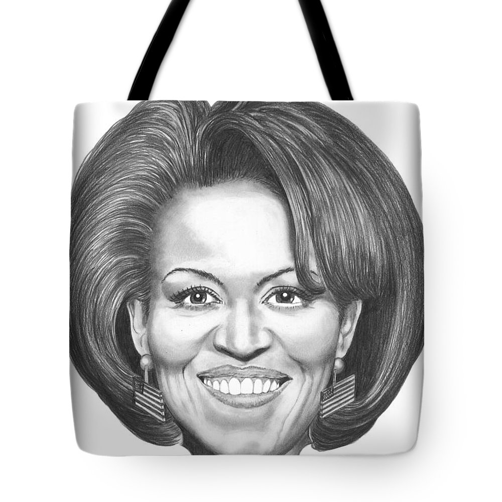 Drawing Tote Bag featuring the drawing Michelle Obama by Murphy Elliott