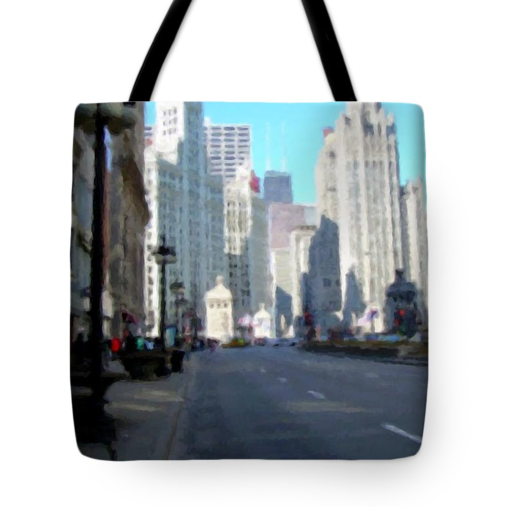 Chicago Tote Bag featuring the digital art Michigan Ave Tall by Anita Burgermeister