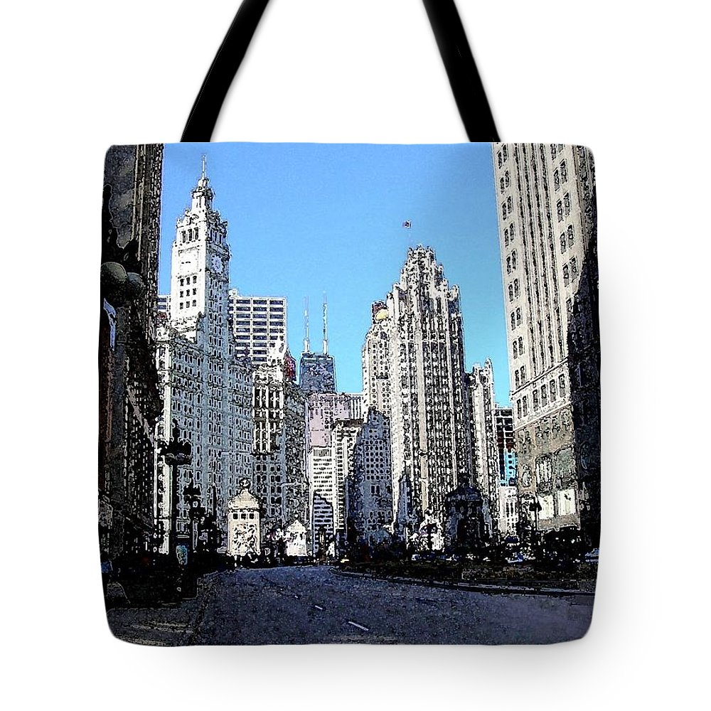 Chicago Tote Bag featuring the digital art Michigan Ave Wide by Anita Burgermeister