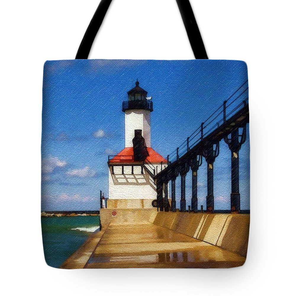 Lighthouse Tote Bag featuring the photograph Michigan City Light 1 by Sandy MacGowan