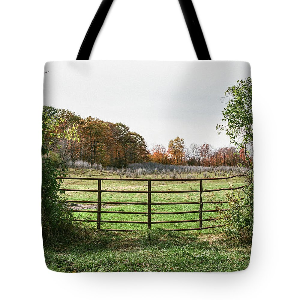 35mm Film Tote Bag featuring the photograph Michigan Farm And Fence by John McGraw