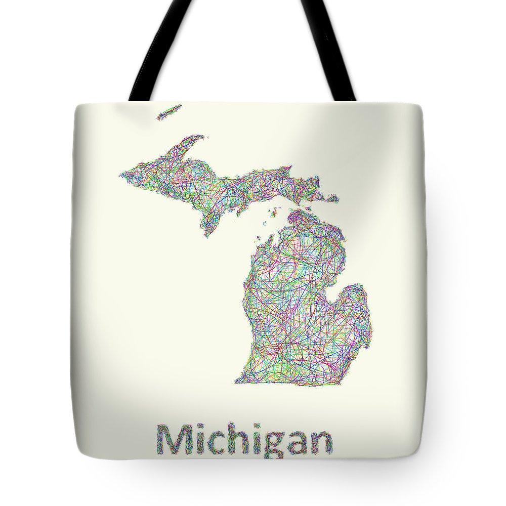 Michigan Map Tote Bag featuring the digital art Michigan Line Art Map by David Zydd