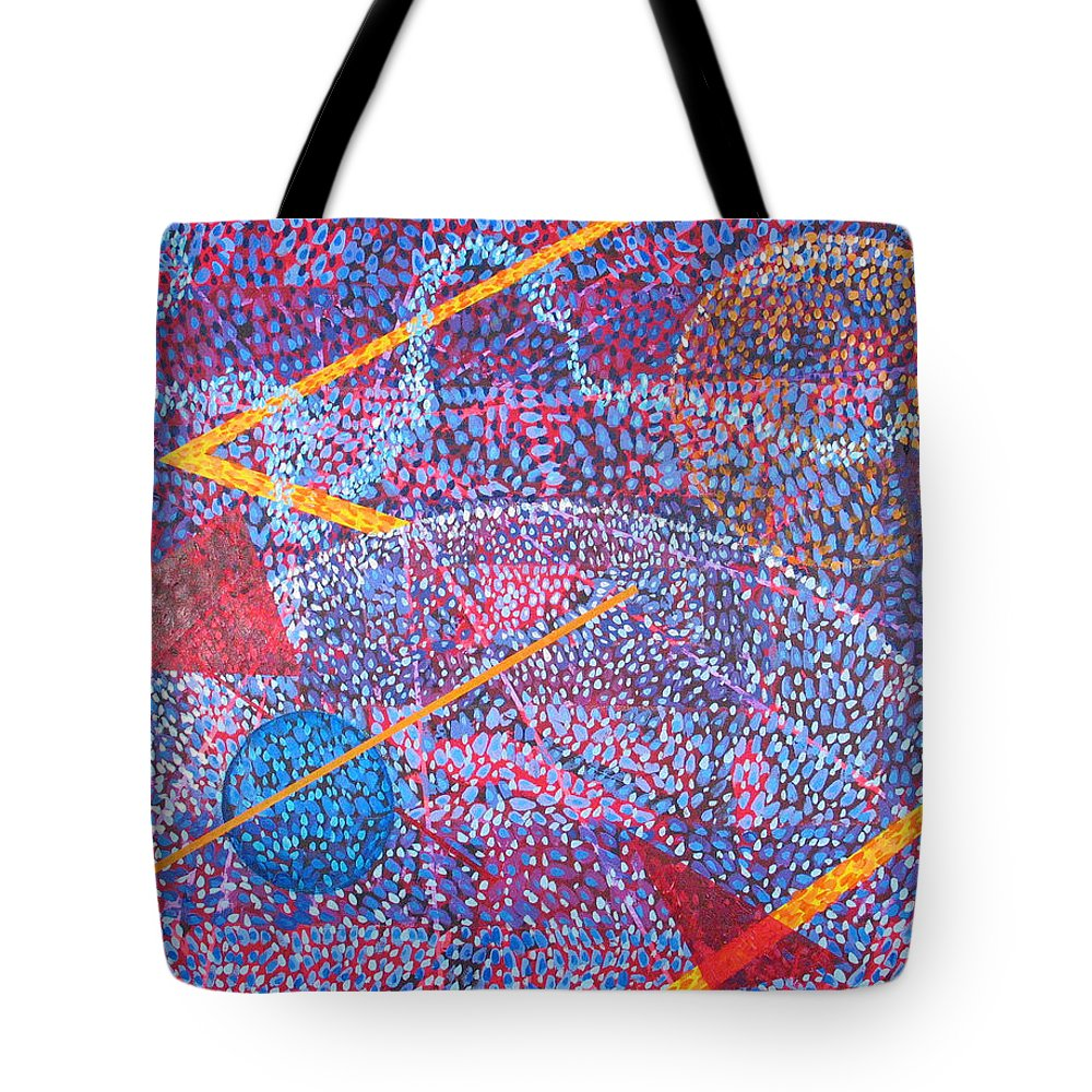 Abstract Tote Bag featuring the painting Microcosm XV by Rollin Kocsis