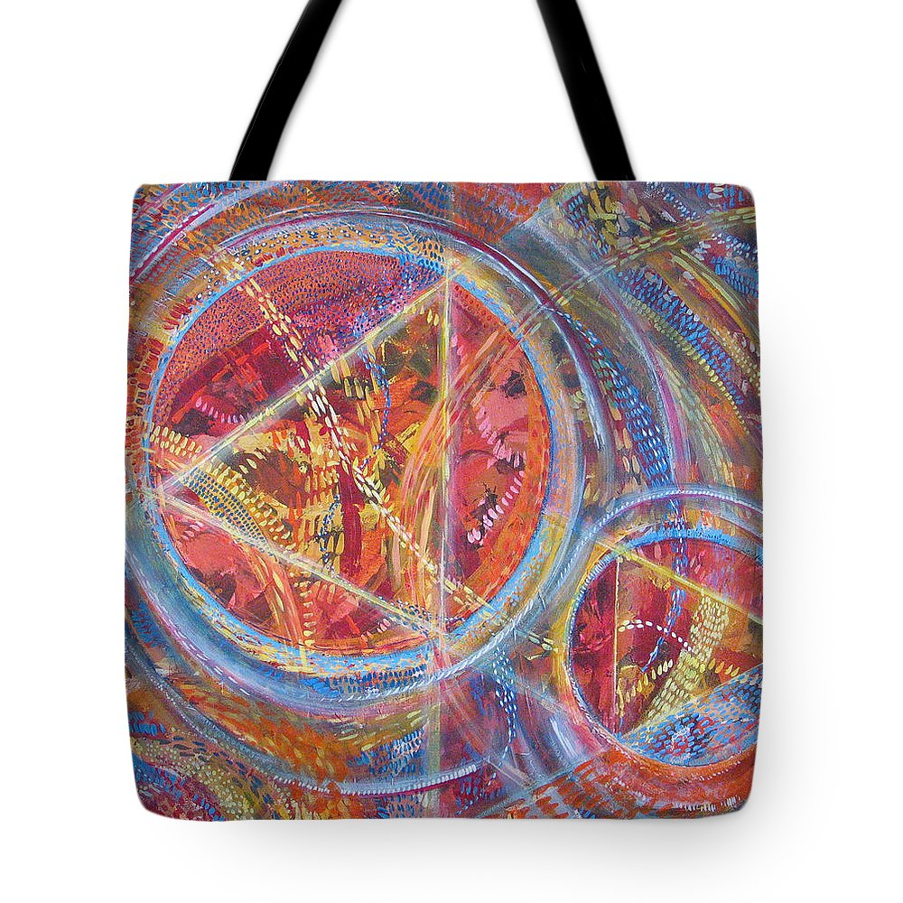 Geometric Tote Bag featuring the painting Microcosm XVI by Rollin Kocsis