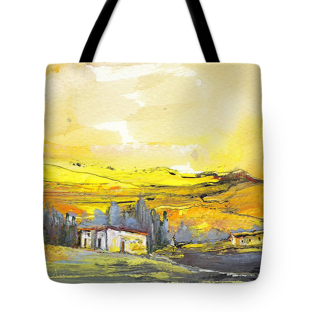 Watercolour Landscape Tote Bag featuring the painting Midday 10 by Miki De Goodaboom