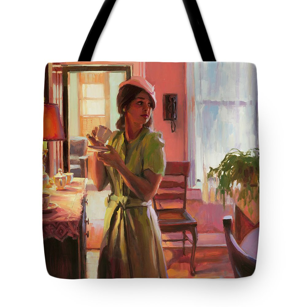Nostalgia Tote Bag featuring the painting Midday Tea by Steve Henderson
