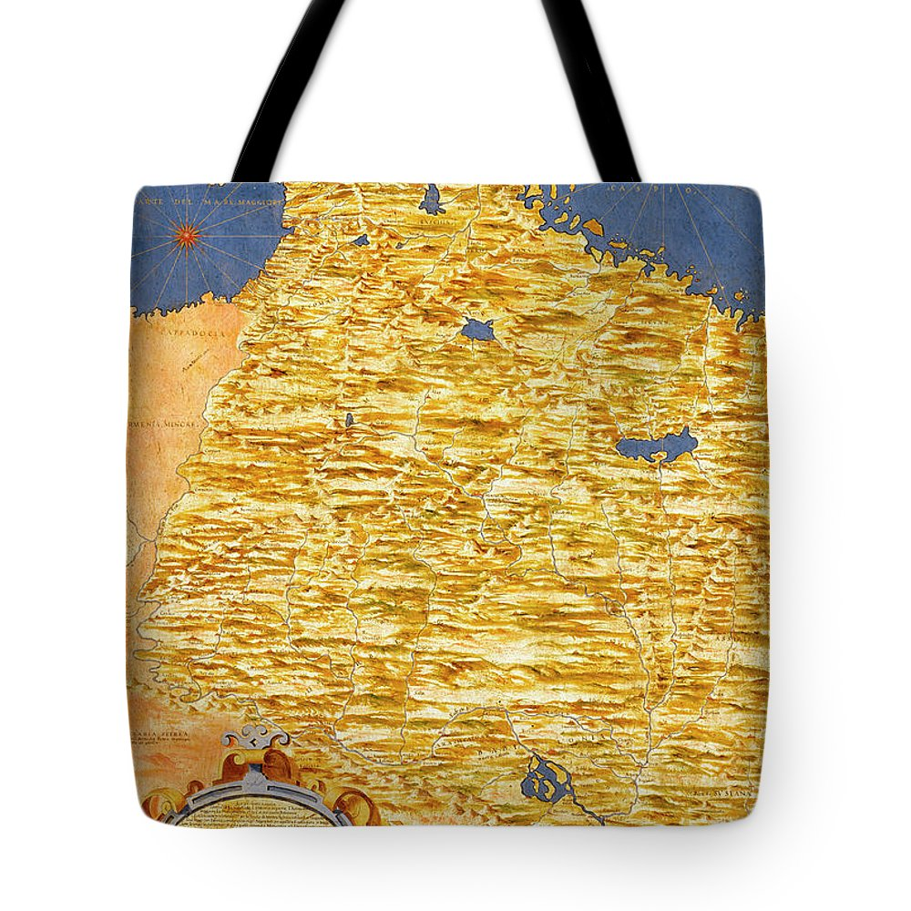 Map Tote Bag featuring the painting Middle East Georgia, Armenia, Azerbaijan, Iraq, Western Iran by Italian painter of the 16th century