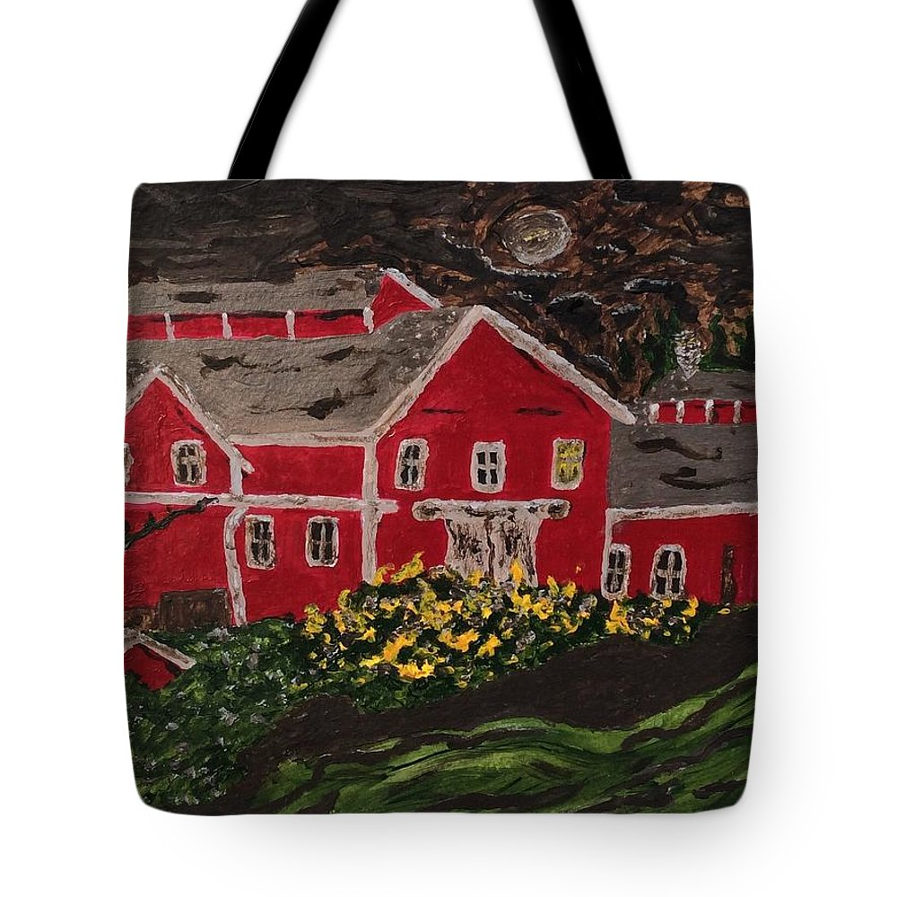 Impressionist Painting Of Historical Greenbank Barn At Midnight Tote Bag featuring the painting Midnight At Greenbank Farm by Anne Marjorie Erickson