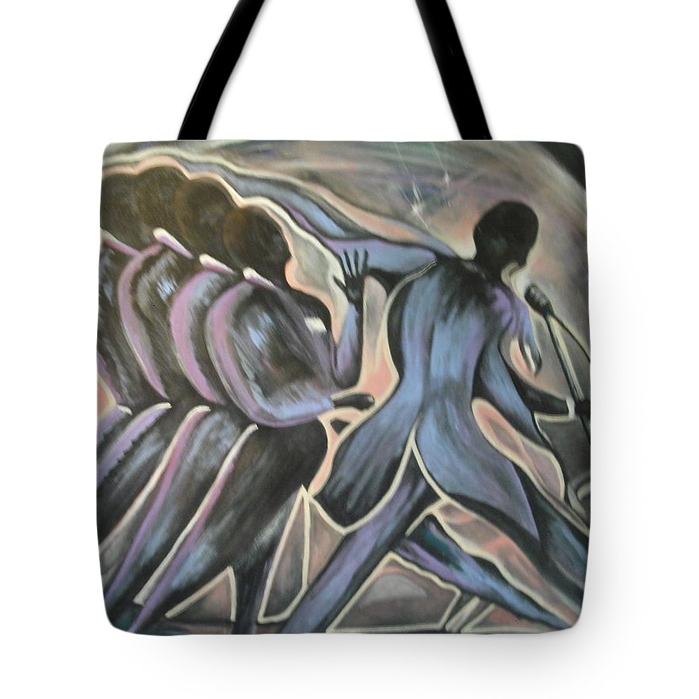 Music Tote Bag featuring the painting Midnight At The Apollo by Anthony Hurt