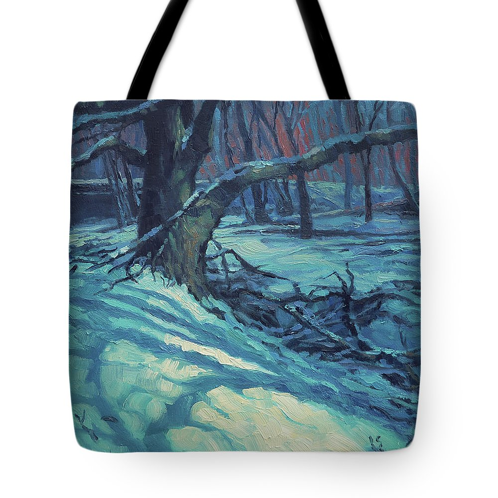 Landscape Tote Bag featuring the painting Midnight Coppei by Steve Henderson