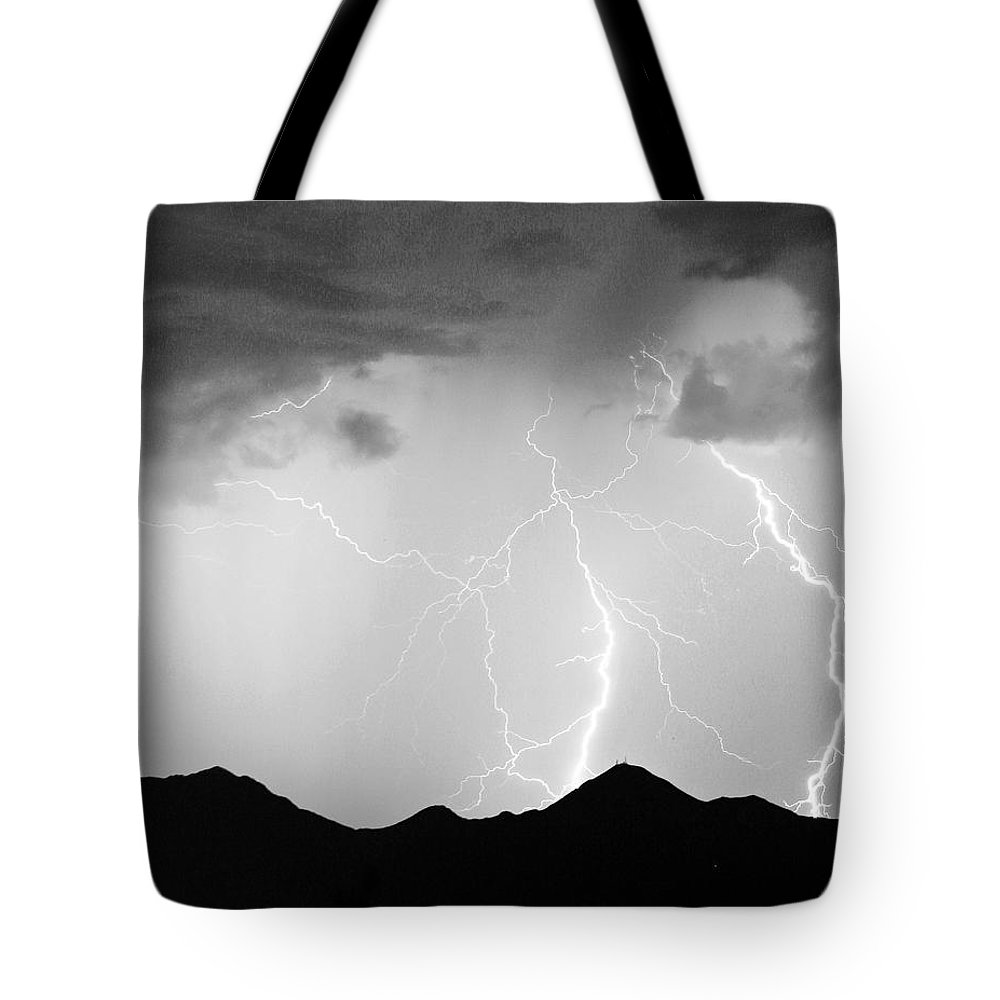 Lightning Tote Bag featuring the photograph Midnight Hour Black And White by James BO Insogna