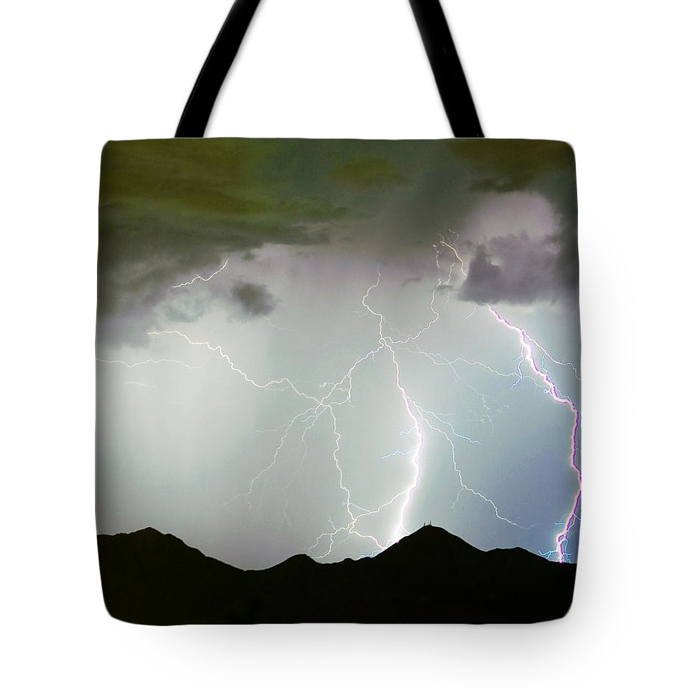 Lightning Tote Bag featuring the photograph Midnight Hour by James BO Insogna