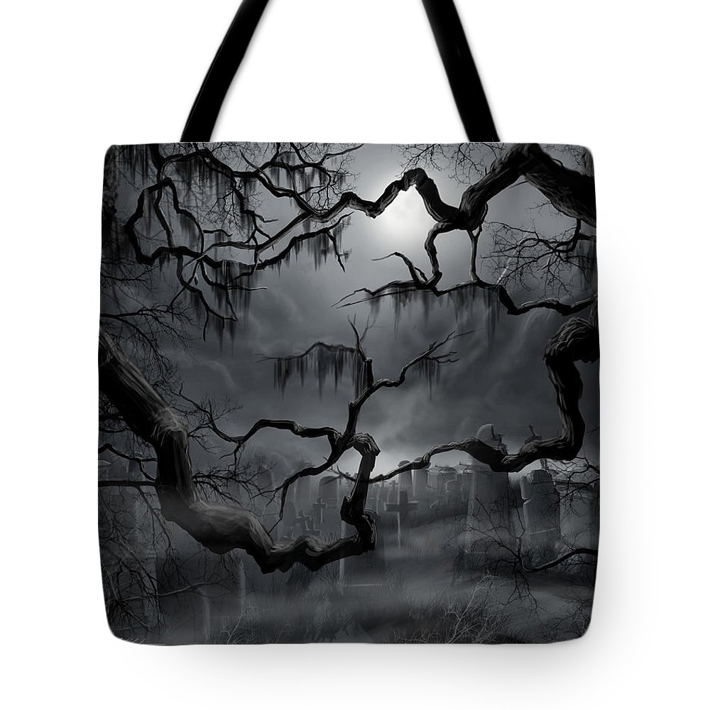 Ghosts Tote Bag featuring the painting Midnight in the Graveyard II by James Christopher Hill