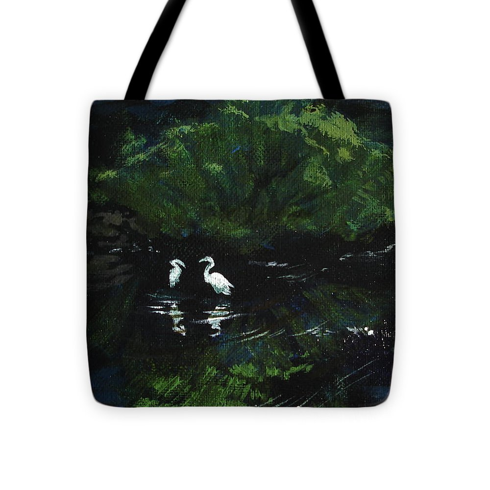 Herons Tote Bag featuring the painting Midnight by Jill Iversen
