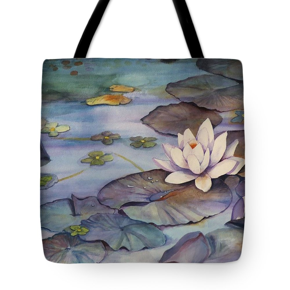 Lily Tote Bag featuring the painting Midnight Lily by Jun Jamosmos