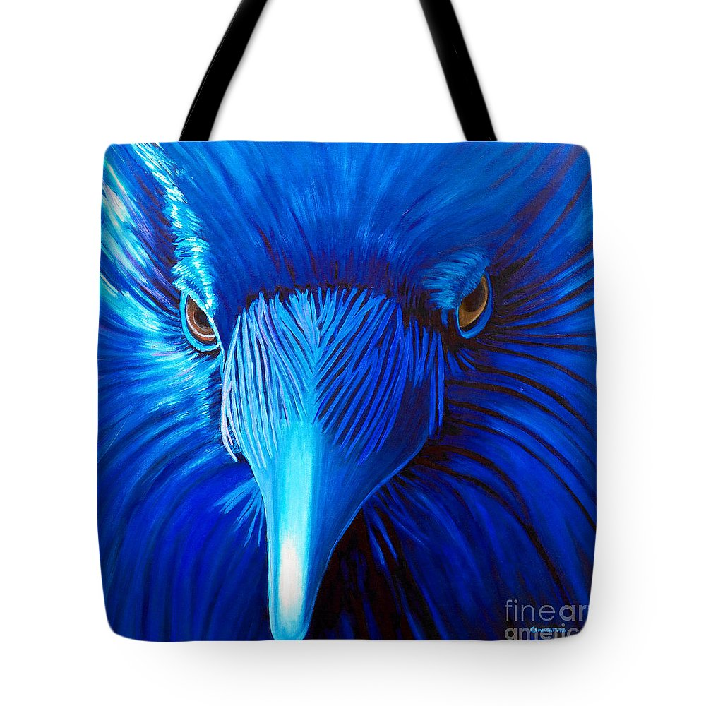 Raven Tote Bag featuring the painting Midnight Magic by Brian Commerford