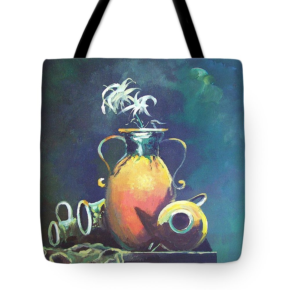Still Life Tote Bag featuring the painting Midnight Moon by Sinisa Saratlic