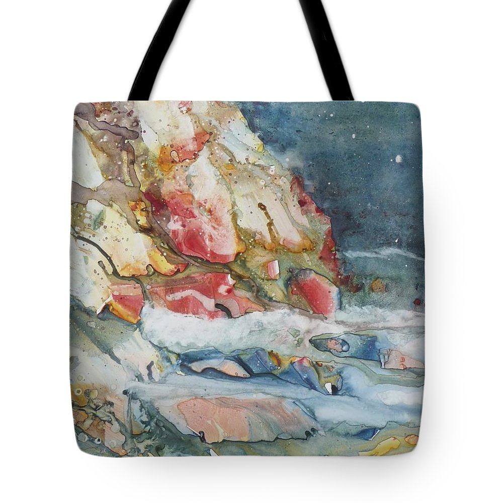 Abstract Tote Bag featuring the painting Midnight Surf by Ruth Kamenev