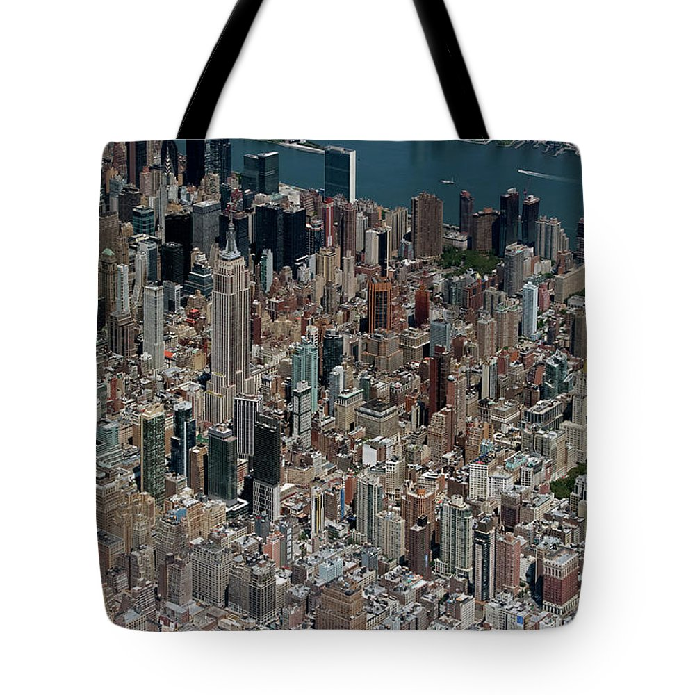 Midtown Tote Bag featuring the photograph Midtown East Manhattan Skyline Aerial  by David Oppenheimer