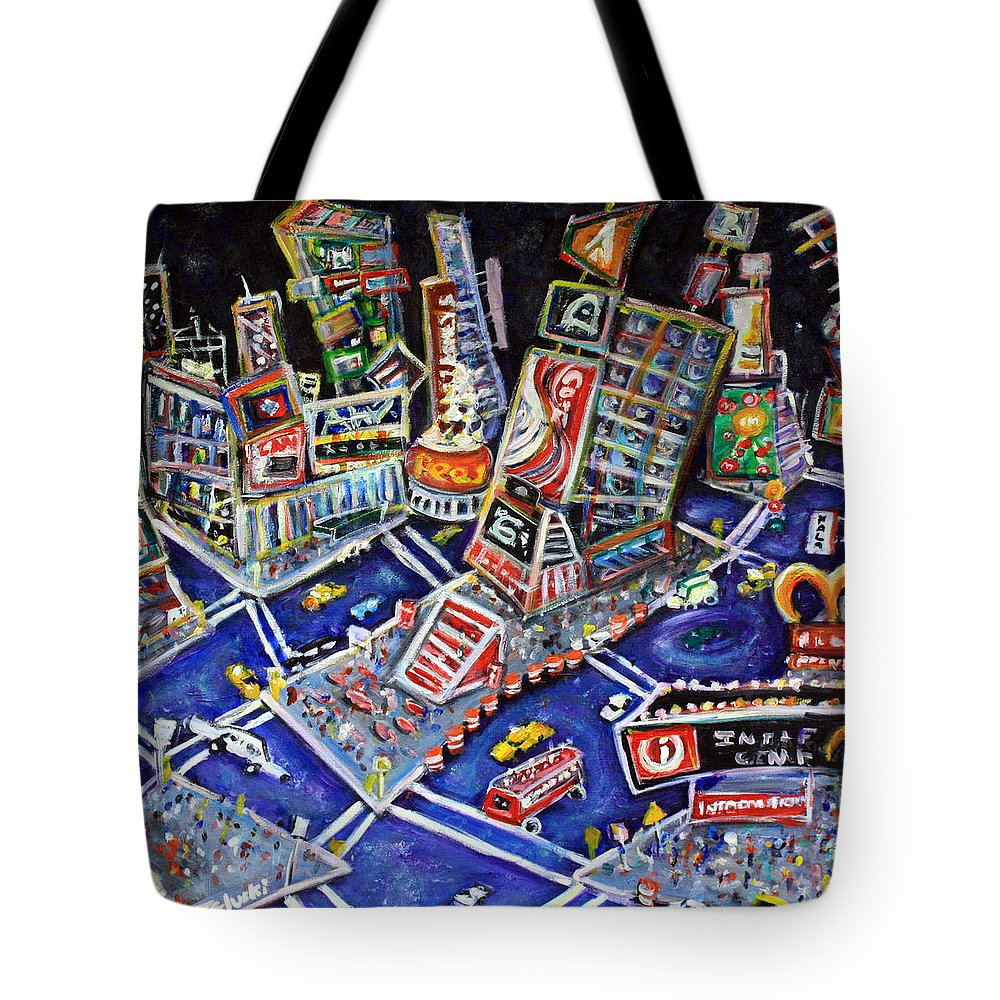 New York City Tote Bag featuring the painting Midtown Magic by Jason Gluskin