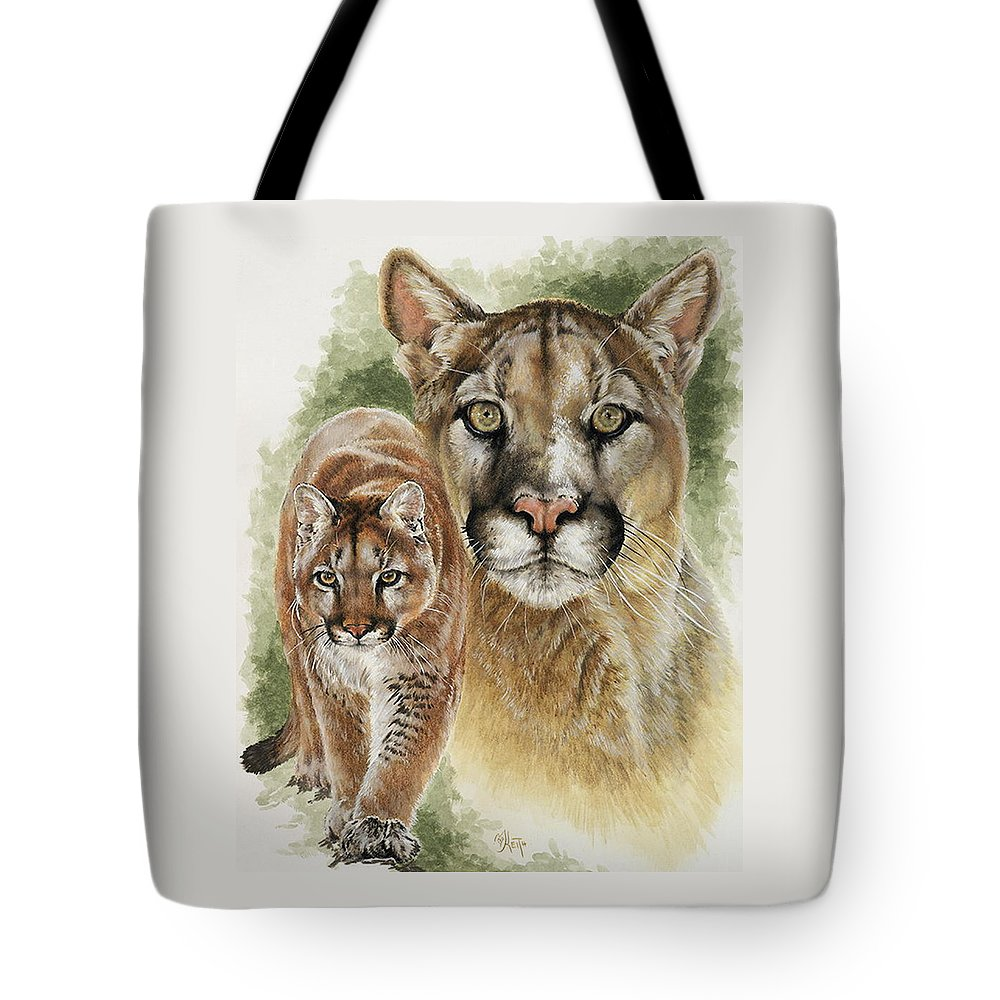 Cougar Tote Bag featuring the mixed media Mighty by Barbara Keith