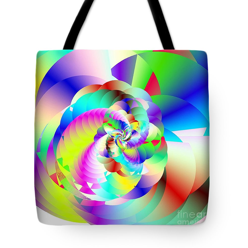 Rainbow Fractal Clouds Tote Bag featuring the digital art Mighty Clouds Of Joy by Michael Skinner
