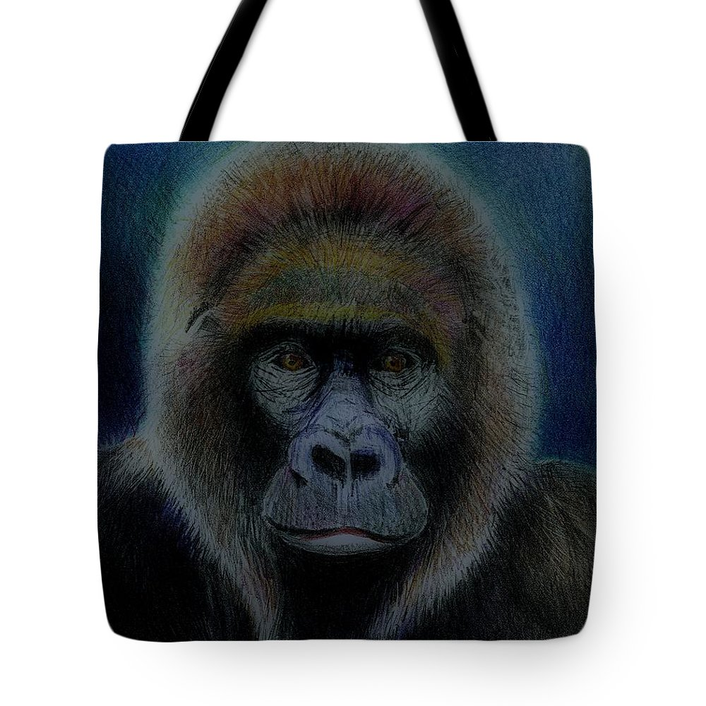 Gorilla Tote Bag featuring the drawing Mighty Gorilla by Arline Wagner
