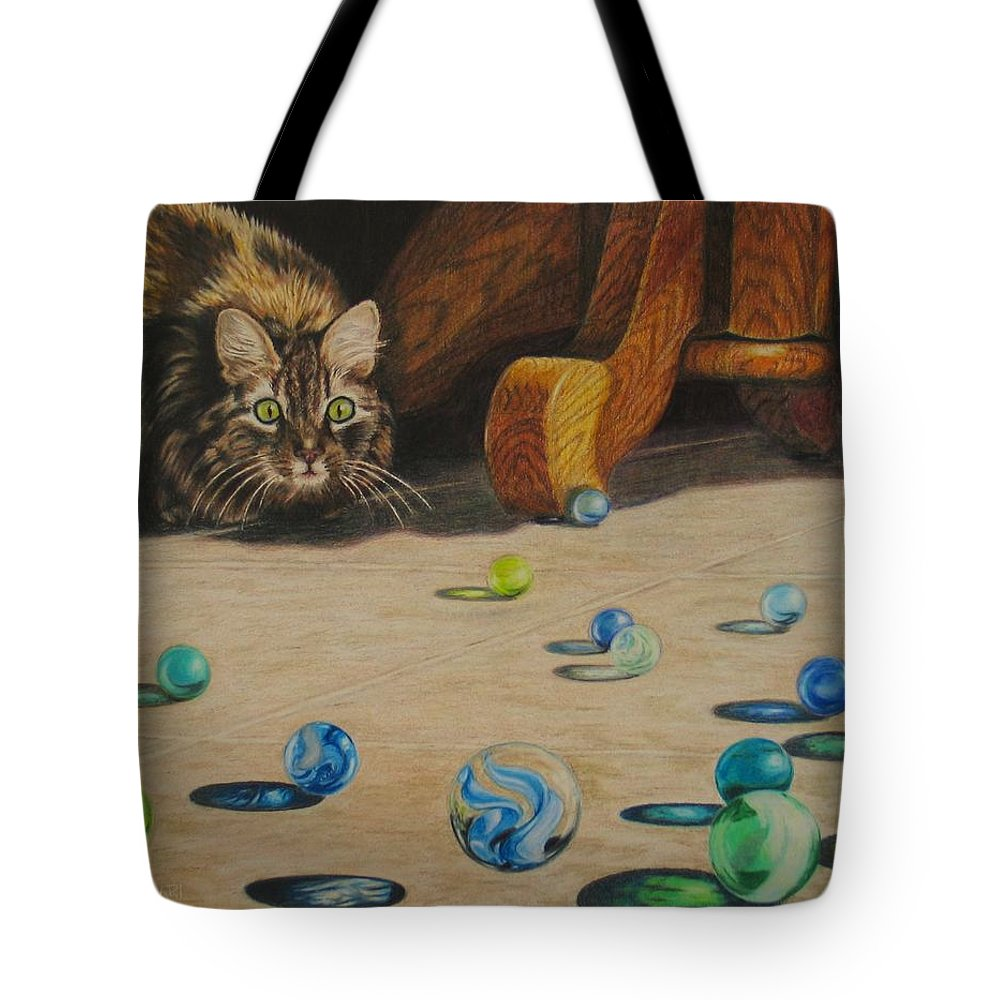 Cats Tote Bag featuring the drawing Mighty Hunter by Karen Ilari
