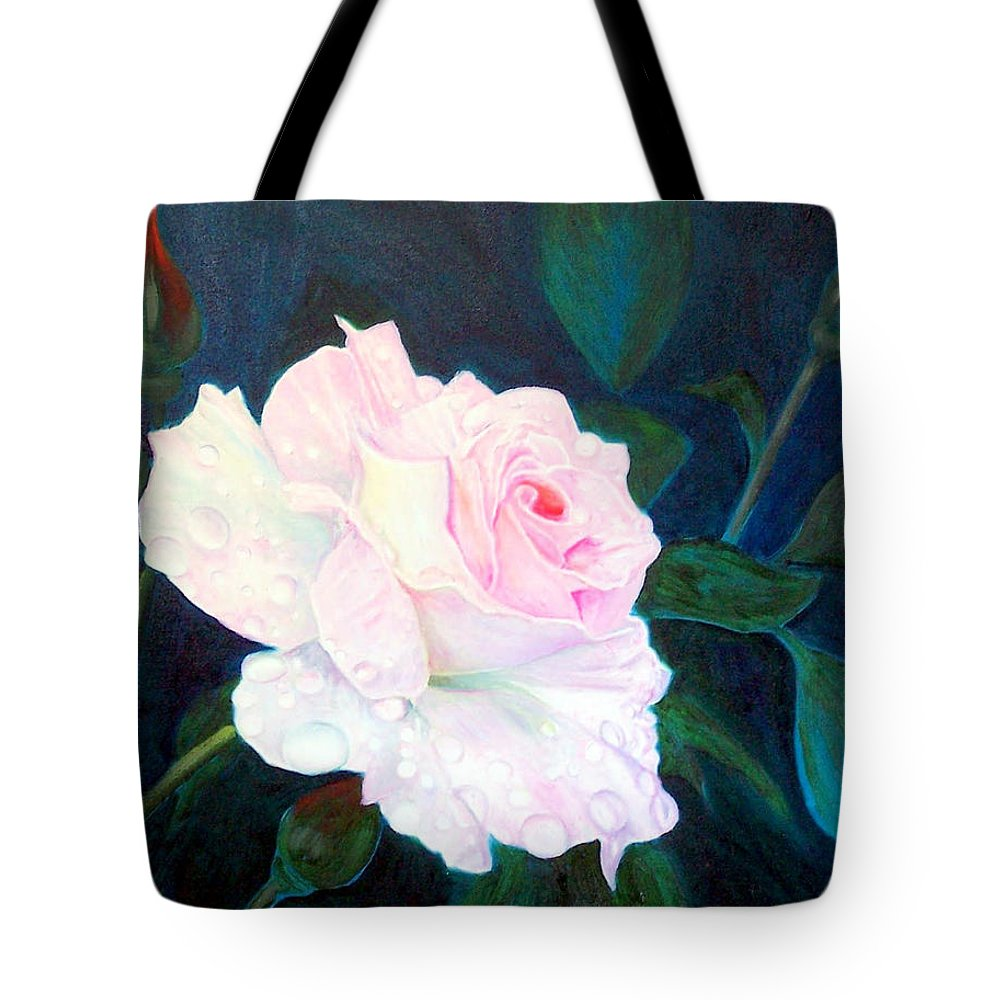Flowers Tote Bag featuring the painting Midnight Rose by John Gabb