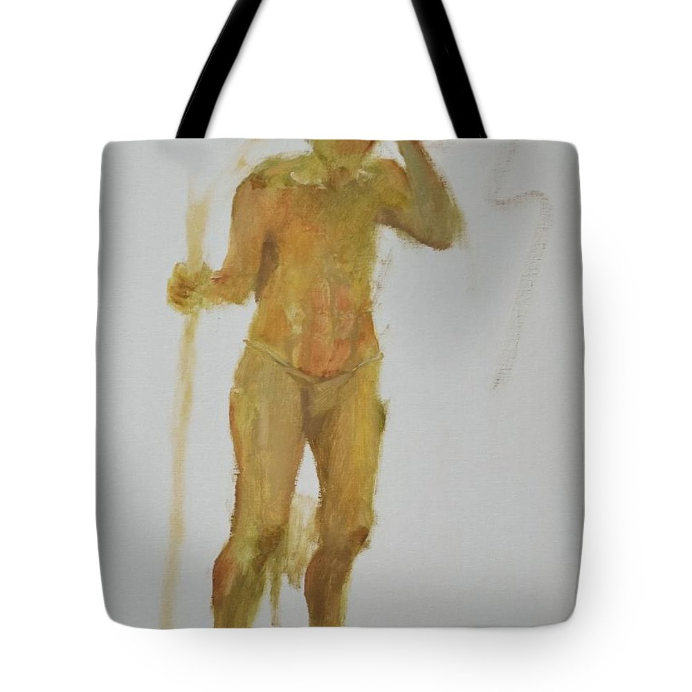 Narrative Tote Bag featuring the painting Migrations The Scout by Barbara Harrison